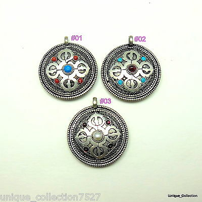 PD-51 Antique Vintage Style Nepalese Tibetan Double Sided Stone Inlaid Pendants