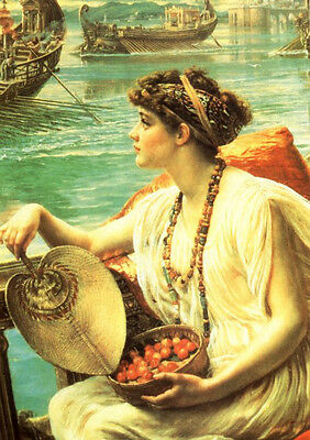 Oil painting Edward John Poynter - Roman Boat Race nice girl holding fan canvas