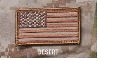 "Patch - AMERICAN USA US FLAG - 3.25"" x 2"" - Milspec Monkey - DESERT TAN"