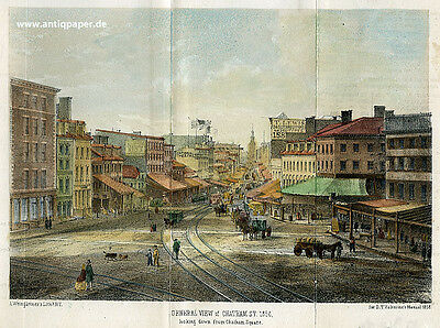 New York General View of Chatham Street Lithography by Weingärtner 1858