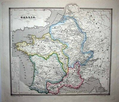 1853 Reichard-Forbiger Historical Map ANCIENT GAUL France 4 Augustan Provinces