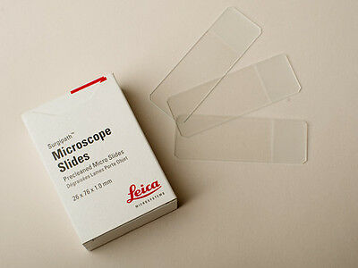 New Plain Microscope Slides - Leica, Top Quality, free UK postage, blank slides