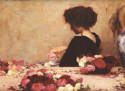 Oil painting Herbert James Draper - Young lady with roses flowers by table