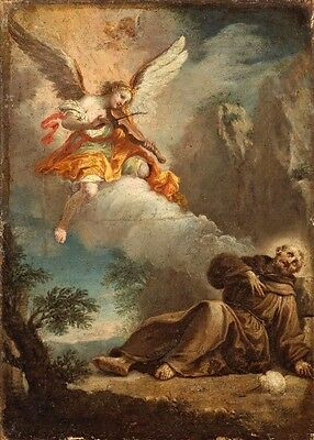 Oil painting angel playing music with St. Peter in landscape canvas