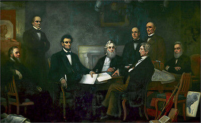 Nice Oil painting President of U.S.A. Abraham Lincoln Emancipation proclamation