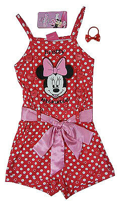 Licensed GIRLS DISNEY MINNIE PlaySuit All in one Suit + Hair tie SIZE 4,5,6