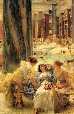Oil painting Lawrence Alma-Tadema - Bathe young girls in bathroom canvas