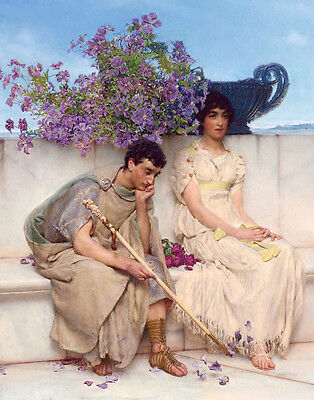 Oil painting Lawrence Alma-Tadema Young man and girl nice lovers & purple flower