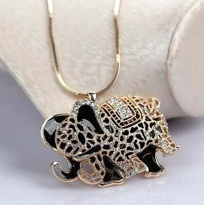 collana Elefante doppio con cristalli  Fashion-Moda  portafortuna idea regalo