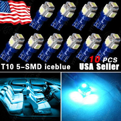 10X Ice Blue T10 5-SMD Led Car Dome Map License Interior Light Bulbs W5W 168 194