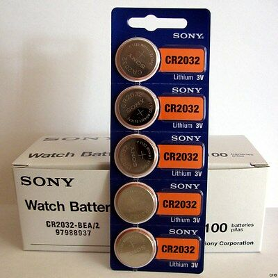 5 NEW SONY CR2032 3V Lithium Coin Battery Expire 2029 FRESHLY NEW - USA Seller