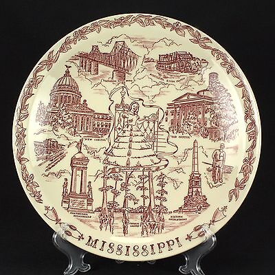 Vernon Kilns State Plates Collector Plate Red Smooth Mississippi EUC