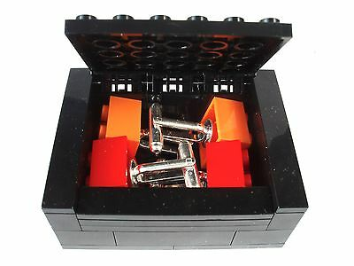2 Pairs of Cufflinks & Box made with LEGO bricks weddings plate silver 3003 gift