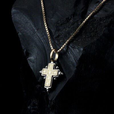 Gerochristo 925 Silver and 18K Gold Byzantine Handmade Cross