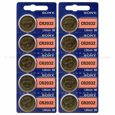 10 NEW SONY CR2032 3V Lithium Coin Battery Expire 2027 FRESHLY NEW - USA Seller