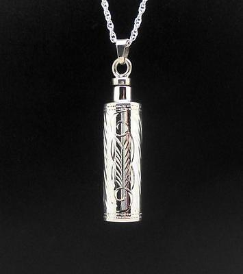 925 S/Silver Luxury Cylinder Memorial Keepsake Cremation Urn Jewellery Pendant