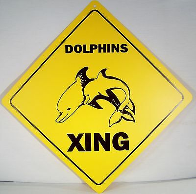 """""""DOLPHINS XING"""" Indoor/Outdoor Funny Crossing 12"""" Yellow Warning Sign!"""