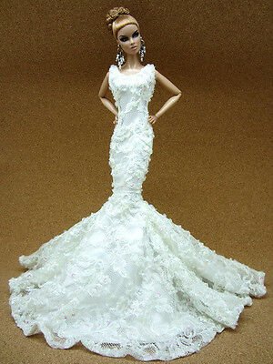 Wedding Bride Evening Silkstone Barbie Fashion Royalty Dress Outfit Gown Sequins