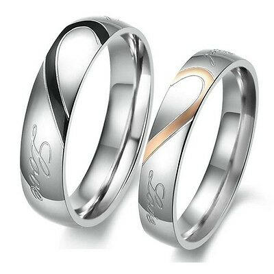 Couple Forever Love Heart Stainless Steel Comfort Fit Wedding Band Promise Ring
