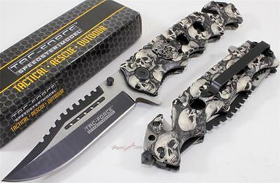 TAC-FORCE Grey Zombie Bowie Sawback Spring Assisted Opening Rescue Pocket Knife