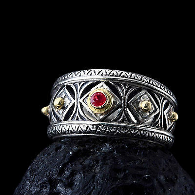 Gerochristo 925 Silver and 18K  Solid Gold Byzantine Handmade Ring with Ruby