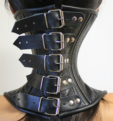 Buckle Real Leather Over Mouth Neck Corset Collar Black  S-XL