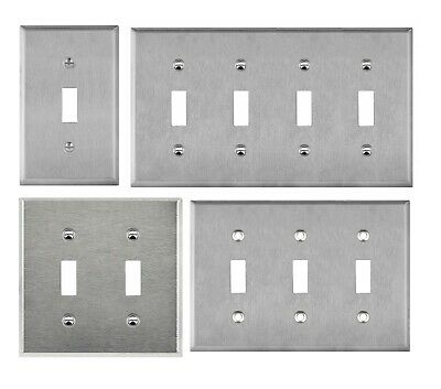 Brushed Stainless Steel Toggle Switch Metal Outlet Cover 1 2 3 4 Gang Wall Plate