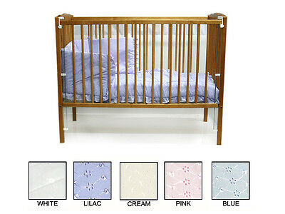 New 2Pc Baby Cot Quilt & Bumper Bedding Set - Broderie Anglaise Design  Bnip