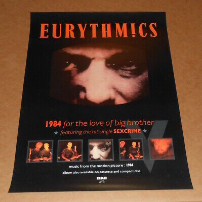Eurythmics 1984 For the Love of Big Brother Original Promo Poster RARE19x27