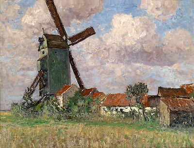 Nice Oil painting Windmill in landscape in Cloudy weather handpainted