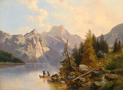 Art Oil painting fishers on canoe in sunset landscape & mountains handpainted