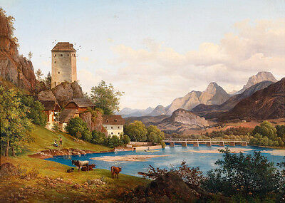 Art Oil painting cows by the river in stunning landscape & house handpainted