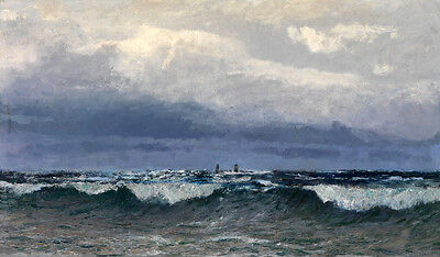 Art Oil painting seascape with ocean waves and storm Precarious boat handpainted