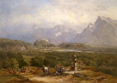 Art Oil painting horsemen in landscape with white horse canvas handpainted