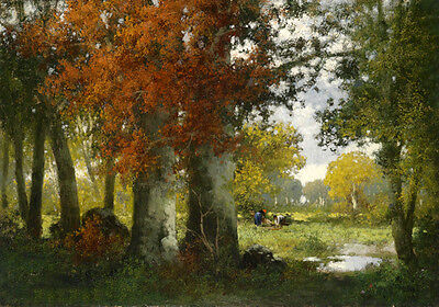 Stunning Oil painting autumn forest landscape with people handpainted