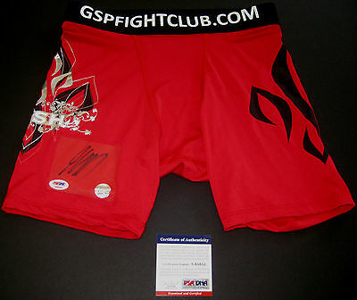 Georges St Pierre Gsp Ufc Signed Red Trunks Psa Dna Authenticated + Free Bonus