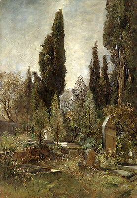 Stunning Oil painting Cemetery landscape with Cypress no framed handpainted