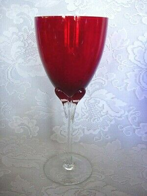 Tall Ruby Red Blown Glass Goblet - Glass Petals Under Bowl - MORE AVAILABLE