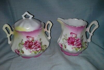 Antique Embossed Sugar Bowl Cream Pitcher Pink Roses Think Germany Fancy Handle
