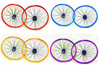 """Brand New Bmx Bike 20"""" Front & Rear Wheels With 9 T Driver Colour Choice + 25T"""