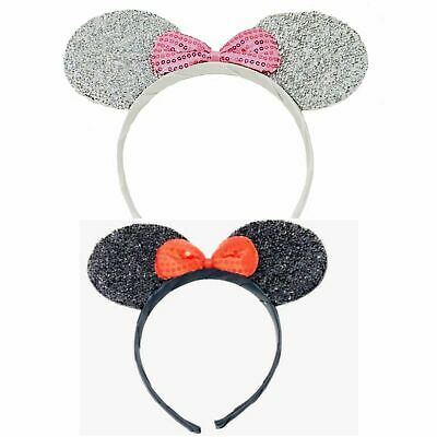 Sparkly Mini Mouse Ears With Bow Aliceband Headband Fancy Dress Hen Nights Party