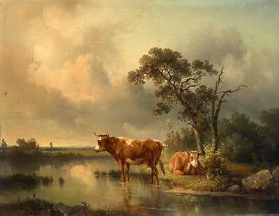 Stunning Oil painting two cows cattles in sunset landscape by river canvas