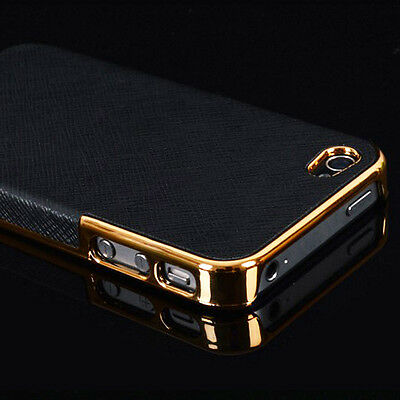 New Frame Luxury PU Leather Chrome Hard Back Case Cover For Apple iPhone 5 5s 5G