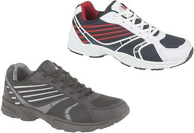 Mens or Boys Trainers Casual Sports Running Gym Shoes In Black or White/Red New