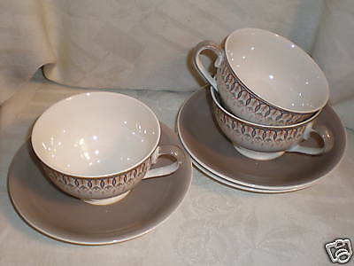 W H GRINDLEY ENGLAND KINGSWOOD 3 CUPS & 3 SAUCERS