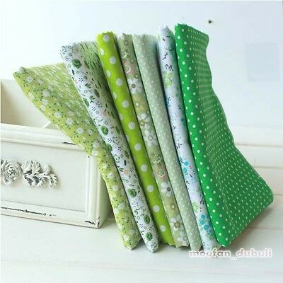 "Green Series 7 Assorted Pre-Cut Charm Cotton Quilt Fabric 19.7"" Fat Quarters"