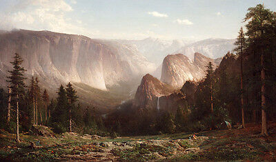 Huge Oil painting Stunning scenery Yellowstone National Park with People camping