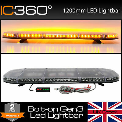 New LED Light Bar Amber Strobe Beacon Recovery - 120cm 1200mm 1.2 Metre 48""