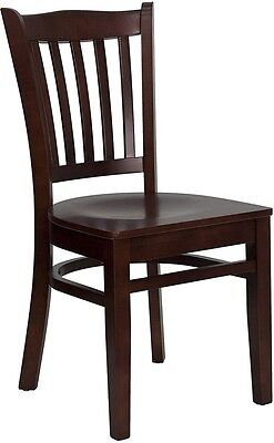 Mahogany Wood Finished Vertical Slat Back Restaurant Chair with Wood Seat