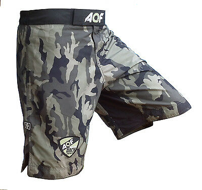 AQF Camo MMA Fight Shorts Green Camouflage UFC Cage Fight Grappling Boxing Green